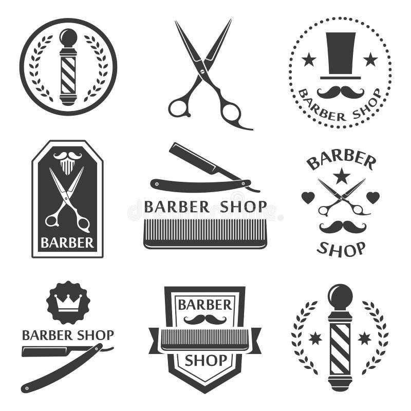 Λογότυπο καταστημάτων κουρέων, ετικέτες, τρύγος διακριτικών απεικόνιση αποθεμάτων