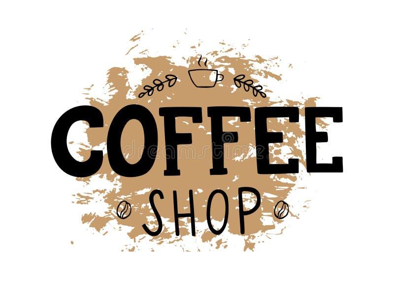 Λογότυπο καφετεριών με γραπτή τη χέρι εγγραφή απεικόνιση αποθεμάτων