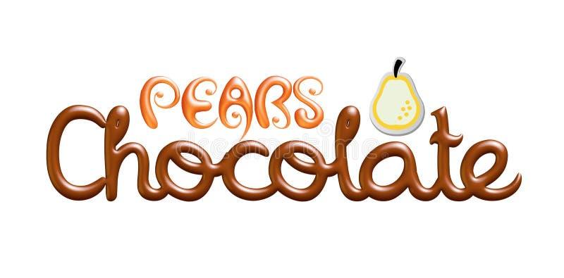 Λογότυπο κειμένων σοκολάτας αχλαδιών που απομονώνεται στο άσπρο υπόβαθρο ελεύθερη απεικόνιση δικαιώματος
