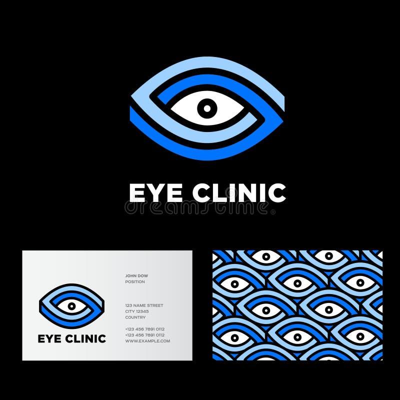Λογότυπο κλινικών ματιών Οφθαλμολογία των εμβλημάτων Τυποποιημένες μάτια και επιστολές διανυσματική απεικόνιση