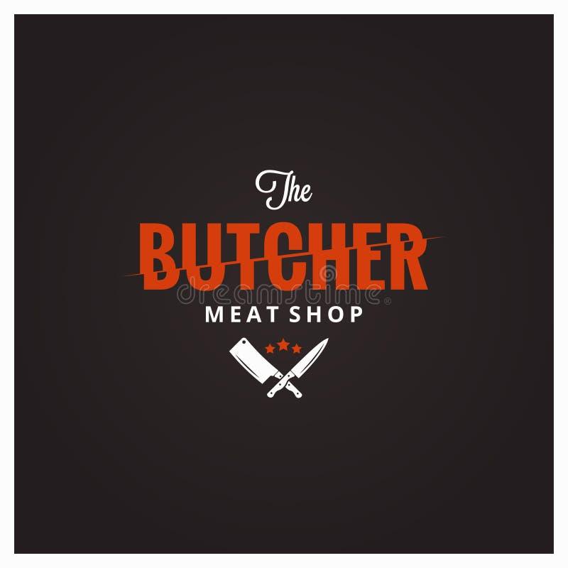 Λογότυπο κρεοπωλείων Κατάστημα κρέατος χασάπηδων με το μαχαίρι και τον μπαλτά ελεύθερη απεικόνιση δικαιώματος
