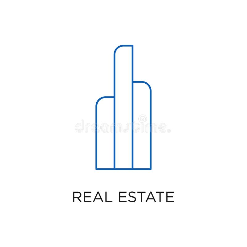 Λογότυπο, κτήριο, ή σπίτι ακίνητων περιουσιών, διάνυσμα σχεδίου με τη γραμμή, γραμμικός, το ύφος, ή τη μονο γραμμή ελεύθερη απεικόνιση δικαιώματος