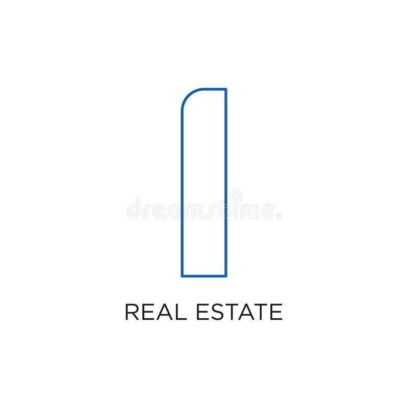 Λογότυπο, κτήριο, ή σπίτι ακίνητων περιουσιών, διάνυσμα σχεδίου με τη γραμμή, γραμμικός, το ύφος, ή τη μονο γραμμή απεικόνιση αποθεμάτων