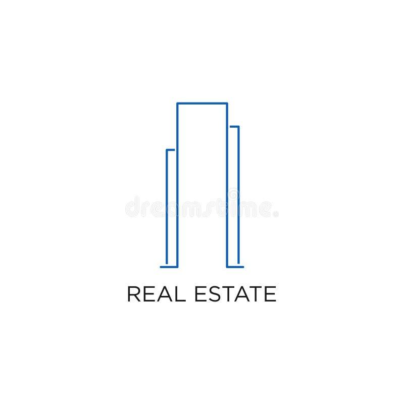Λογότυπο, κτήριο, ή σπίτι ακίνητων περιουσιών, διάνυσμα σχεδίου με τη γραμμή, γραμμικός, το ύφος, ή τη μονο γραμμή διανυσματική απεικόνιση