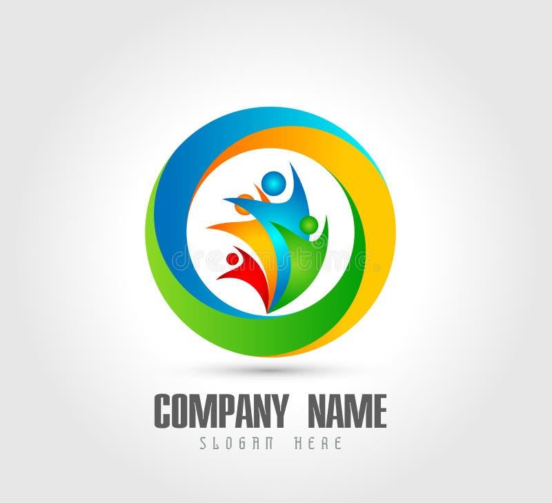 Λογότυπο κύκλων οικογενειακών σπιτιών ευτυχίας εορτασμού εργασίας ομάδων ένωσης ανθρώπων/ευτυχές διαμορφωμένο καρδιά λογότυπο εγχ ελεύθερη απεικόνιση δικαιώματος