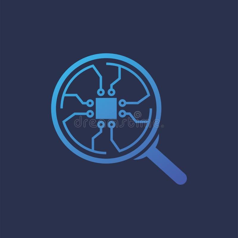 Λογότυπο κύκλων σύνδεσης τσιπ Magnifier διανυσματική απεικόνιση