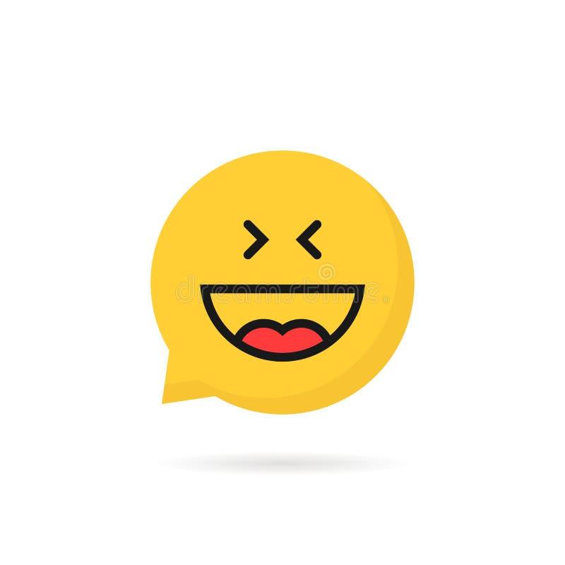 Λογότυπο λεκτικών φυσαλίδων emoji γέλιου στο άσπρο υπόβαθρο απεικόνιση αποθεμάτων