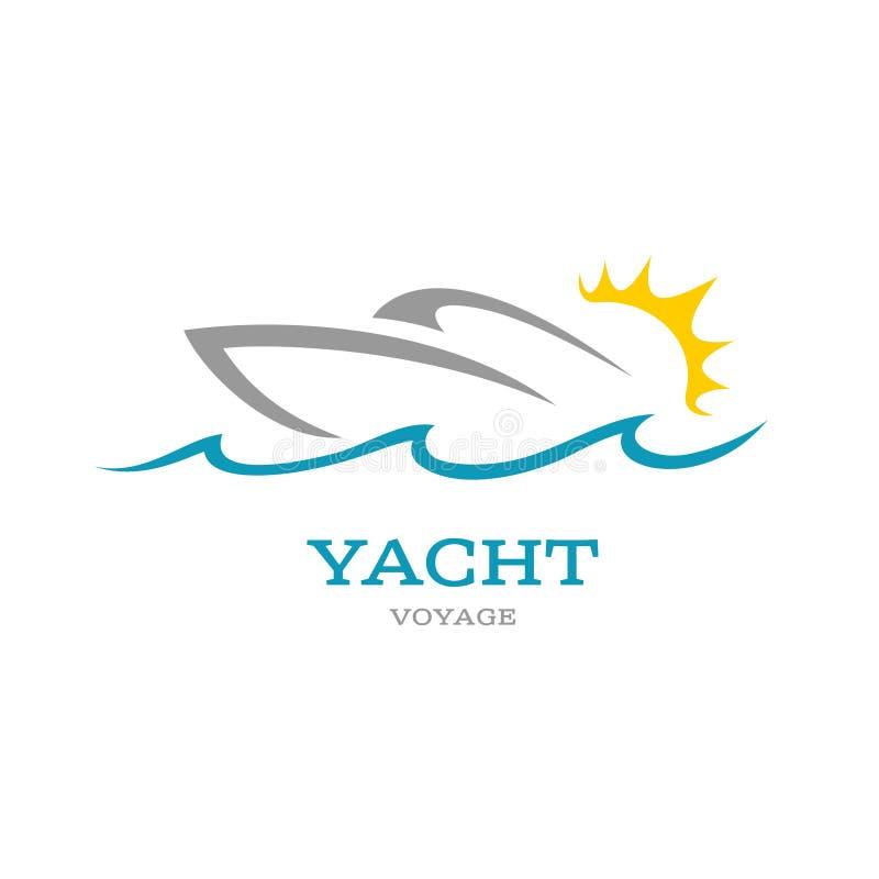 Λογότυπο λεσχών γιοτ Θάλασσα ή ωκεάνια έννοια περιπέτειας ταξιδιού απεικόνιση αποθεμάτων