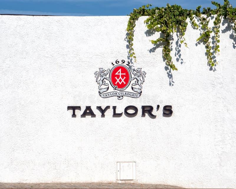 Λογότυπο λιμένων του Taylor, Gaia, Πορτογαλία στοκ φωτογραφία