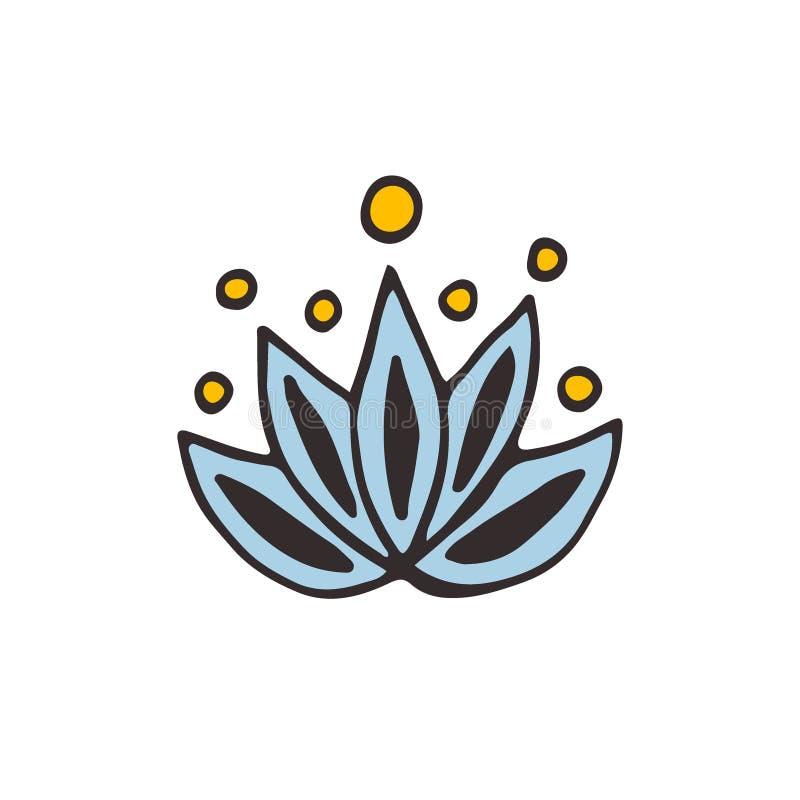 Λογότυπο λουλουδιών Lotus Διανυσματικό εικονίδιο Doodle απεικόνιση αποθεμάτων