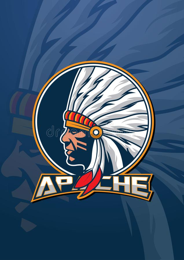 Λογότυπο μασκότ Apache στοκ φωτογραφίες