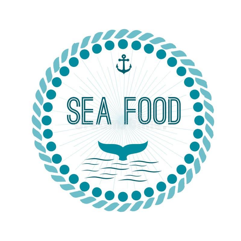 Λογότυπο με έναν οικοδεσπότη ψαριών δελφινιών με τα vons και ένας κύκλος αγκύρων στο β ελεύθερη απεικόνιση δικαιώματος