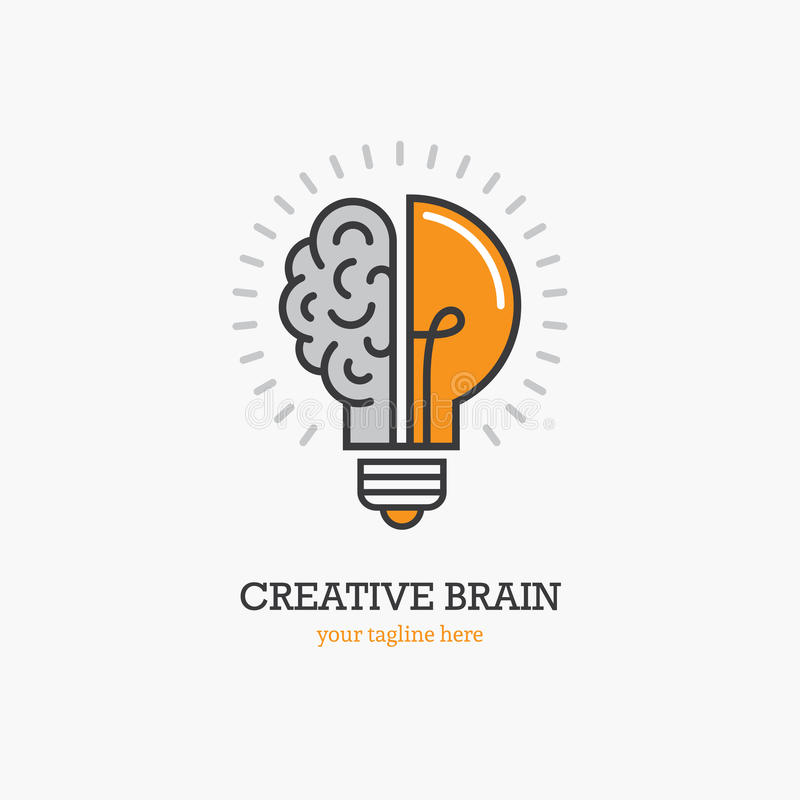 Λογότυπο με ένα δεύτερο της λάμπας φωτός και του εγκεφάλου διανυσματική απεικόνιση