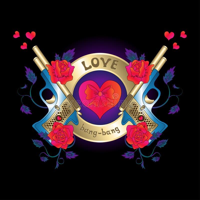 Λογότυπο με ένα πυροβόλο όπλο και κόκκινες καρδιές τριαντάφυλλων διανυσματική απεικόνιση