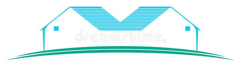 Λογότυπο με τα τυποποιημένα σπίτια σε μπλε και το λευκό που απομονώνεται απεικόνιση αποθεμάτων