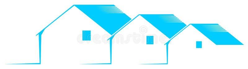 Λογότυπο με τα τυποποιημένα σπίτια σε μπλε και το λευκό που απομονώνεται ελεύθερη απεικόνιση δικαιώματος