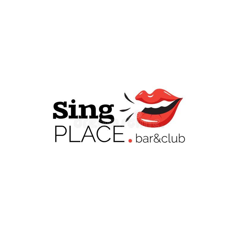 Λογότυπο με τα χείλια για το μπαρ και το κλαμπ καραόκε ελεύθερη απεικόνιση δικαιώματος