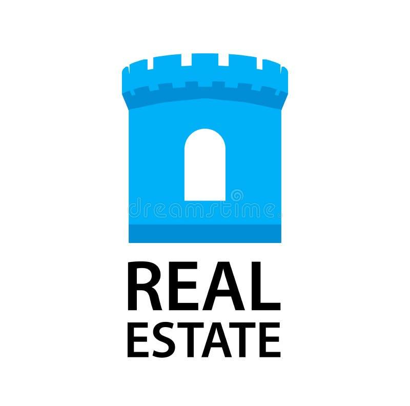 Λογότυπο με τον πύργο του Castle για την επιχείρηση ακίνητων περιουσιών στο μπλε χρώμα που απομονώνεται στο λευκό διανυσματική απεικόνιση