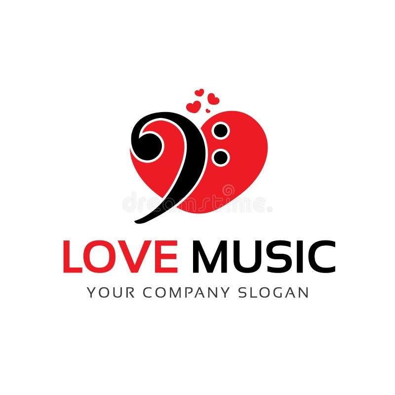 Λογότυπο μουσικής αγάπης διανυσματική απεικόνιση