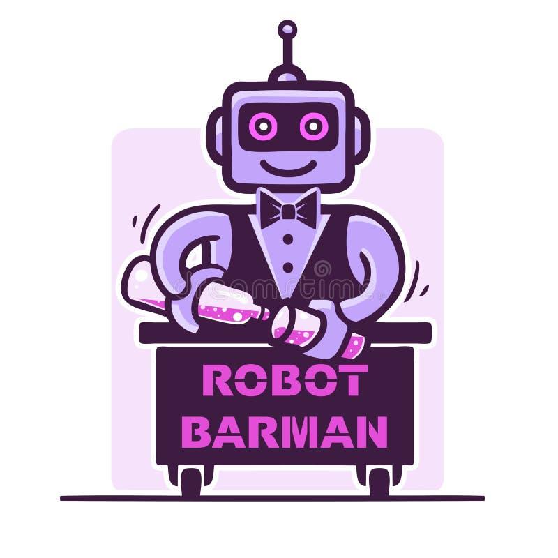 Λογότυπο μπάρμαν ρομπότ απεικόνιση αποθεμάτων