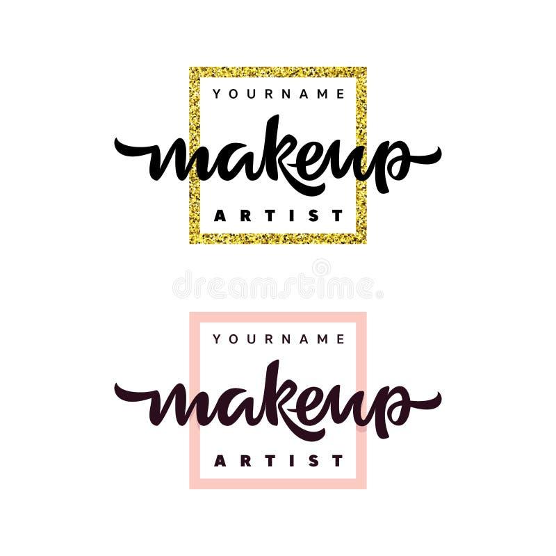 Λογότυπο μόδας καλλιτεχνών Makeup Γράφοντας απεικόνιση διανυσματική απεικόνιση