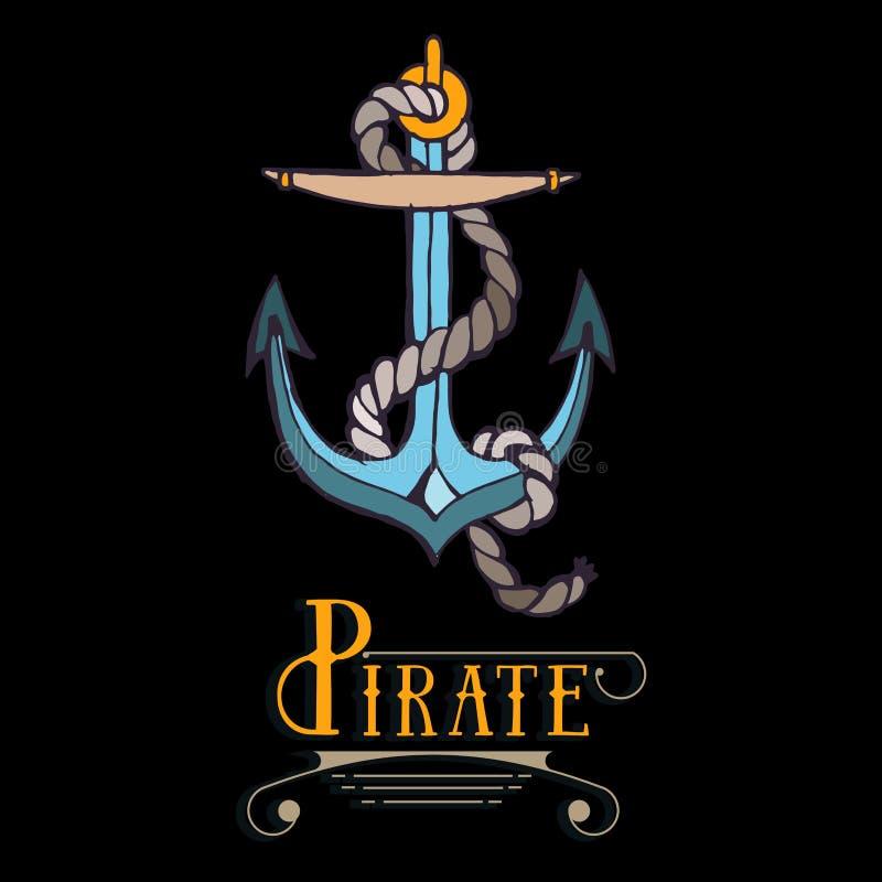 Λογότυπο ναυτικό, θαλάσσιος, πανί, άγκυρα με το σχοινί απεικόνιση αποθεμάτων