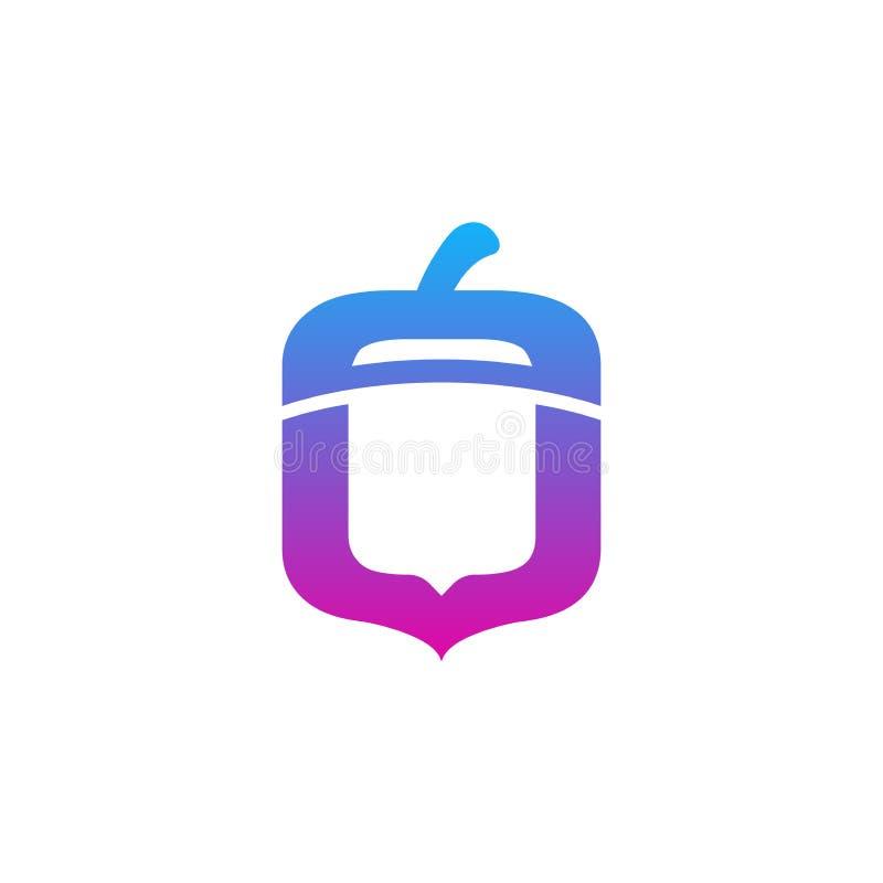 Λογότυπο ξύλων καρυδιάς με την κλίση κινητό app και το σύγχρονο ύφος - διάνυσμα ελεύθερη απεικόνιση δικαιώματος
