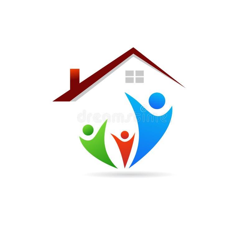Λογότυπο οικογένειας και σπιτιών απεικόνιση αποθεμάτων