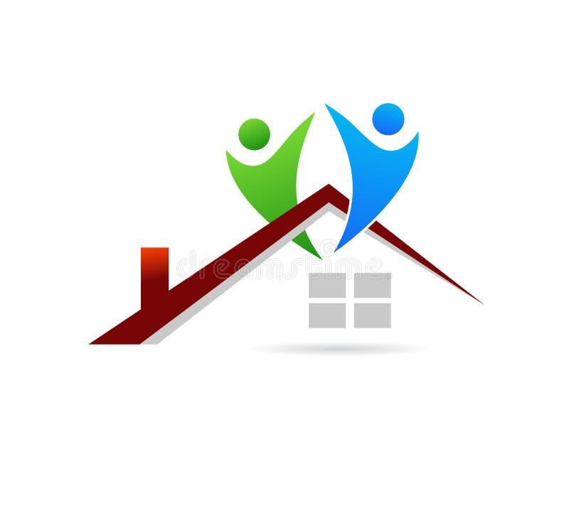 Λογότυπο οικογένειας και σπιτιών ελεύθερη απεικόνιση δικαιώματος
