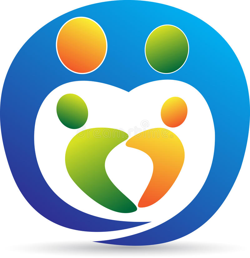 Λογότυπο οικογενειακής προσοχής διανυσματική απεικόνιση