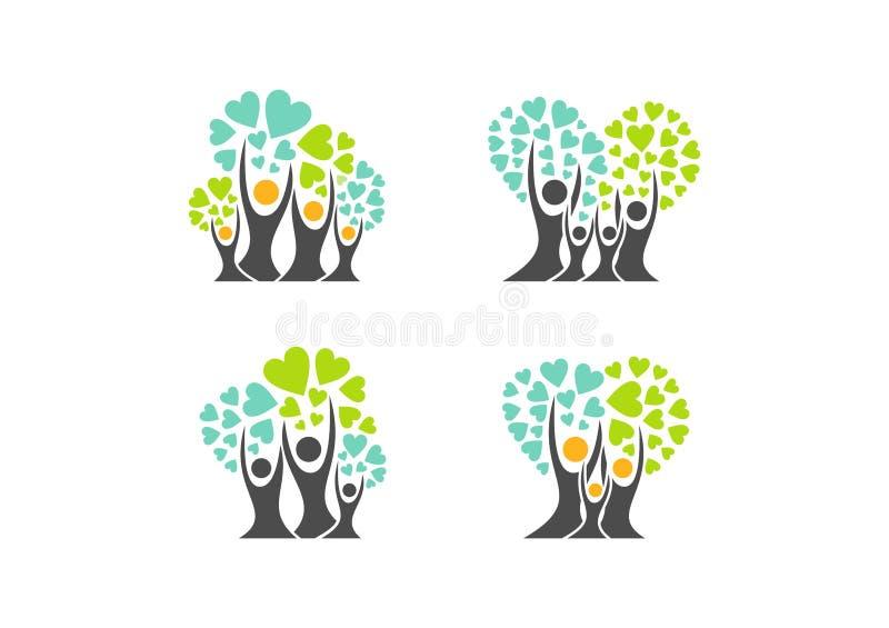 Λογότυπο οικογενειακών δέντρων, σύμβολα δέντρων οικογενειακών καρδιών, γονέας, παιδί, προσοχή, καθορισμένο διάνυσμα σχεδίου εικον απεικόνιση αποθεμάτων
