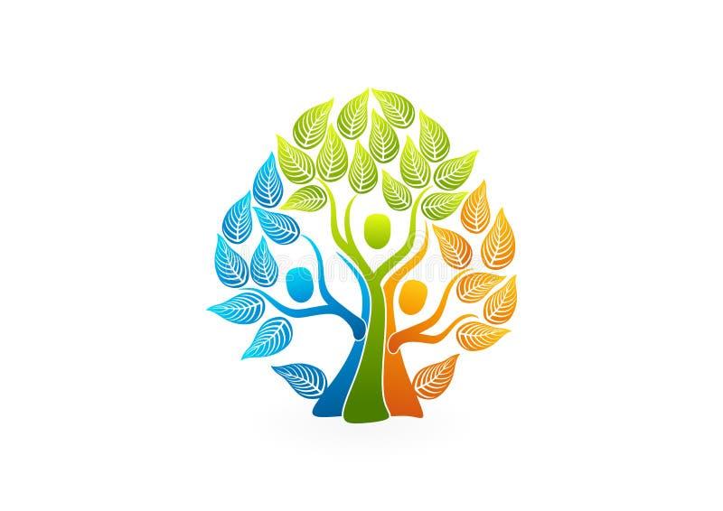Λογότυπο οικογενειακών δέντρων, υγιές σχέδιο έννοιας ανθρώπων διανυσματική απεικόνιση
