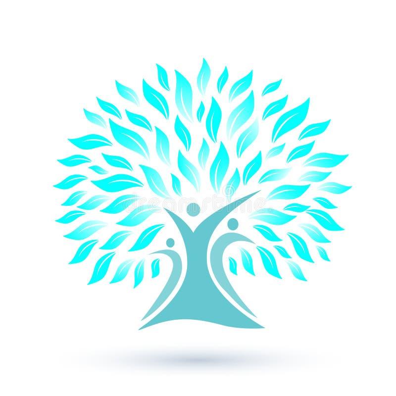 Λογότυπο οικογενειακών δέντρων με τα μπλε φύλλα στο άσπρο υπόβαθρο διανυσματική απεικόνιση