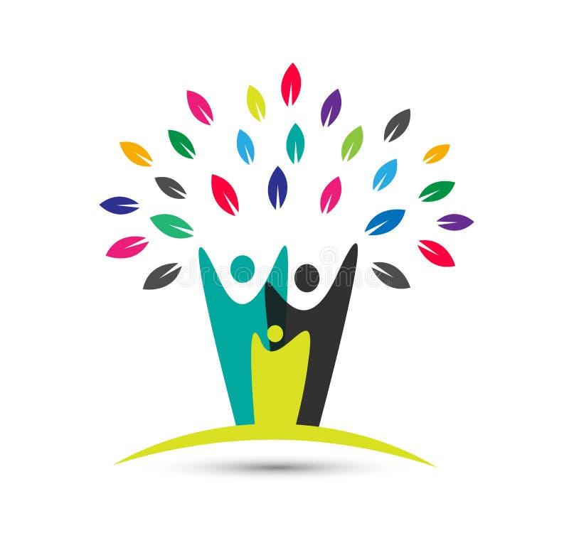 Λογότυπο οικογενειακών δέντρων στο άσπρο υπόβαθρο απεικόνιση αποθεμάτων