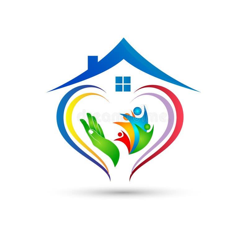 Λογότυπο οικογενειακών κατοικιών happyness εορτασμού εργασίας ομάδων ένωσης ανθρώπων/ευτυχές διαμορφωμένο καρδιά λογότυπο εγχώριω διανυσματική απεικόνιση