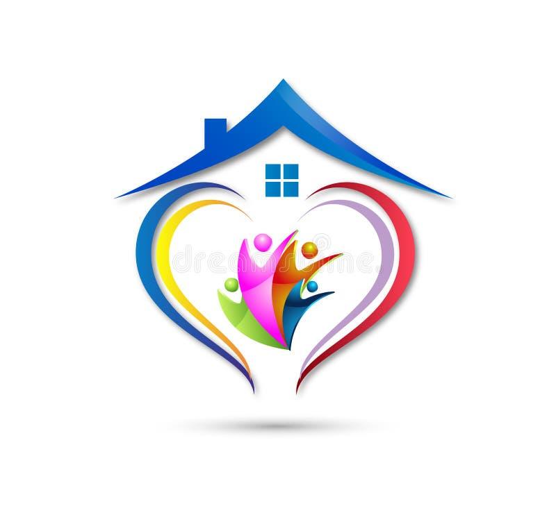 Λογότυπο οικογενειακών κατοικιών happyness εορτασμού εργασίας ομάδων ένωσης ανθρώπων/ευτυχές διαμορφωμένο καρδιά λογότυπο εγχώριω ελεύθερη απεικόνιση δικαιώματος