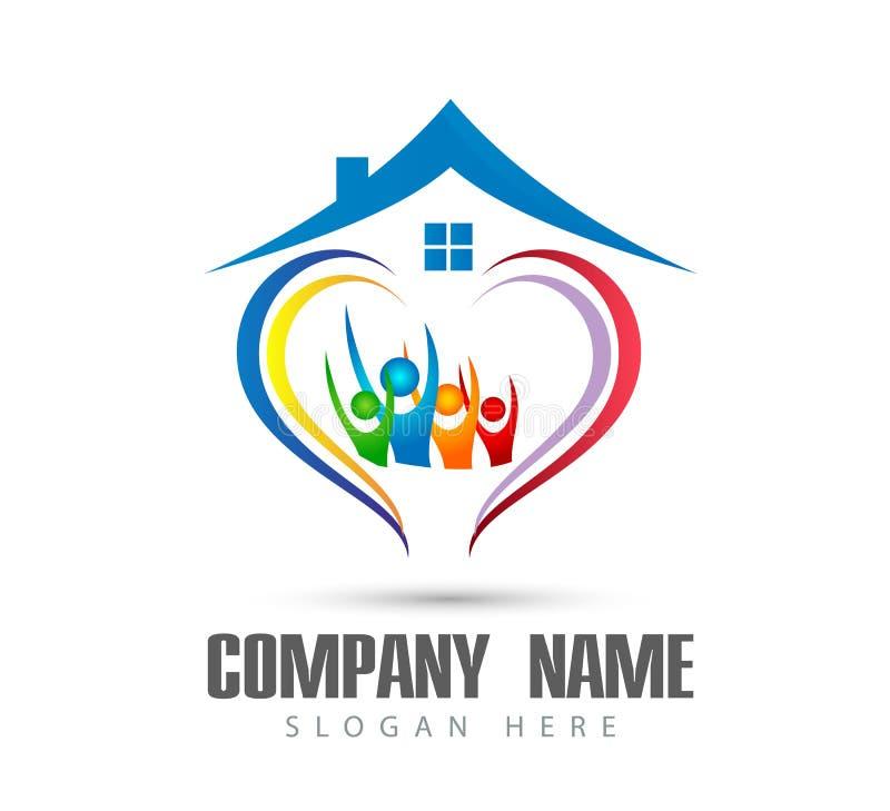 Λογότυπο οικογενειακών σπιτιών happyness εορτασμού εργασίας ομάδων ένωσης ανθρώπων/ευτυχές διαμορφωμένο καρδιά λογότυπο εγχώριων  απεικόνιση αποθεμάτων