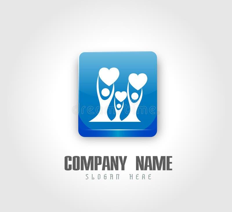 Λογότυπο οικογενειακών σπιτιών happyness εορτασμού εργασίας ομάδων ένωσης ανθρώπων/ευτυχές διαμορφωμένο καρδιά λογότυπο εγχώριων  διανυσματική απεικόνιση