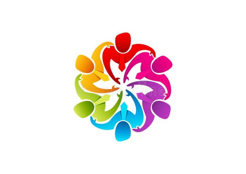 Λογότυπο ομαδικής εργασίας, εικονίδιο επιχειρηματιών, σύμβολο leadearship, ποικιλομορφία ομάδας και σχέδιο έννοιας εργαζομένων απεικόνιση αποθεμάτων
