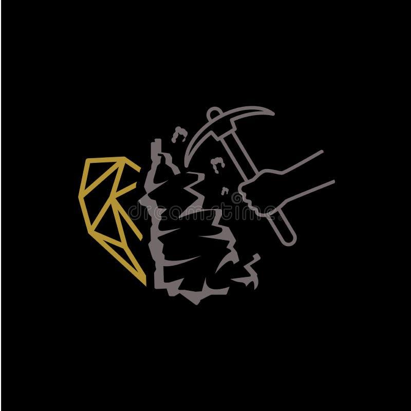Λογότυπο ορυχείου διαμαντιών απεικόνιση αποθεμάτων