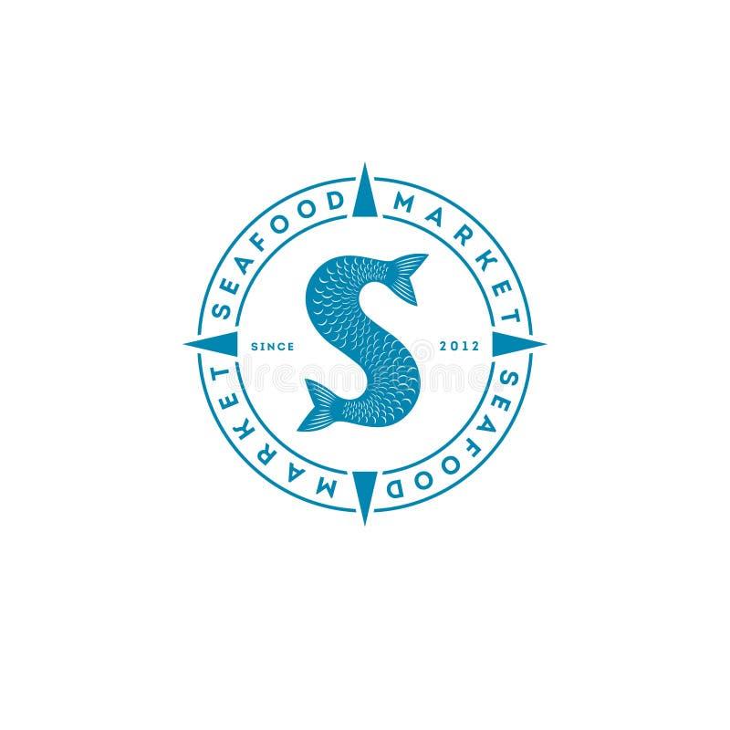 Λογότυπο ουρών ψαριών Αγορά ή εστιατόριο θαλασσινών Ουρά και επιστολές ψαριών, πτερύγια και κλίμακες διανυσματική απεικόνιση