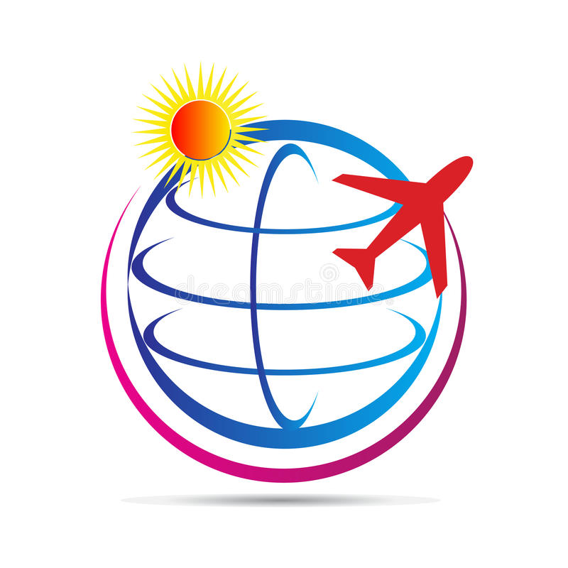 Λογότυπο παγκόσμιου ταξιδιού διανυσματική απεικόνιση