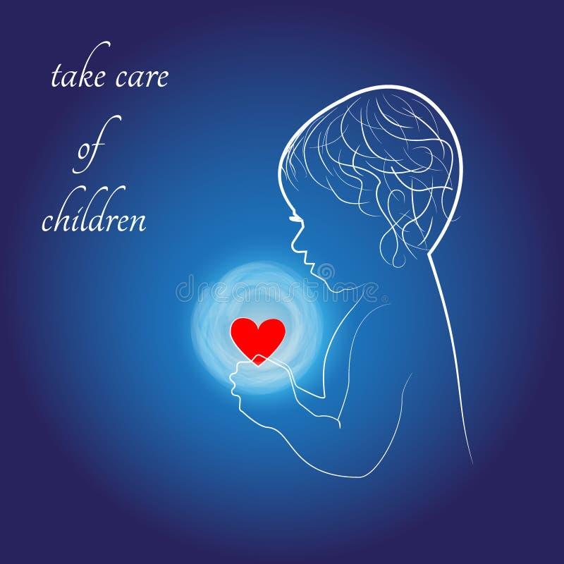 Λογότυπο, παιδί και καρδιά φροντίδας των παιδιών απεικόνιση αποθεμάτων