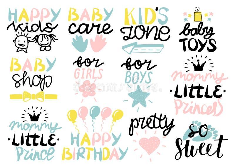 λογότυπο 12 παιδιών s με τη γραφή χρόνια πολλά, προσοχή μωρών, ζώνη, παιχνίδια, κατάστημα, για τα κορίτσια, αγόρια, μαμά λίγη πρι διανυσματική απεικόνιση