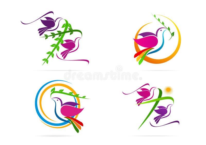 Λογότυπο περιστεριών, περιστέρι, ήλιος με το διαγώνιο σύμβολο φύλλων, ιερό σχέδιο έννοιας εικονιδίων πνευμάτων ελεύθερη απεικόνιση δικαιώματος