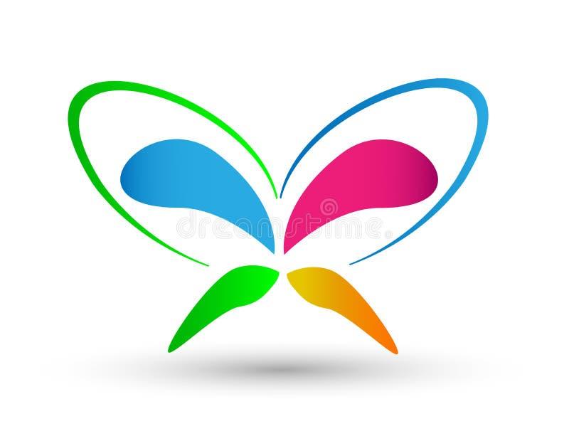 Λογότυπο πεταλούδων, φύλλα, καρδιά που διαμορφώνεται, λογότυπο στο άσπρο υπόβαθρο διανυσματική απεικόνιση