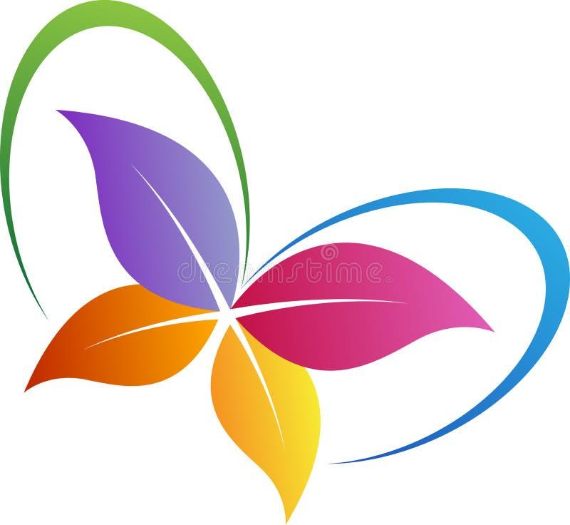 Λογότυπο πεταλούδων φύλλων διανυσματική απεικόνιση