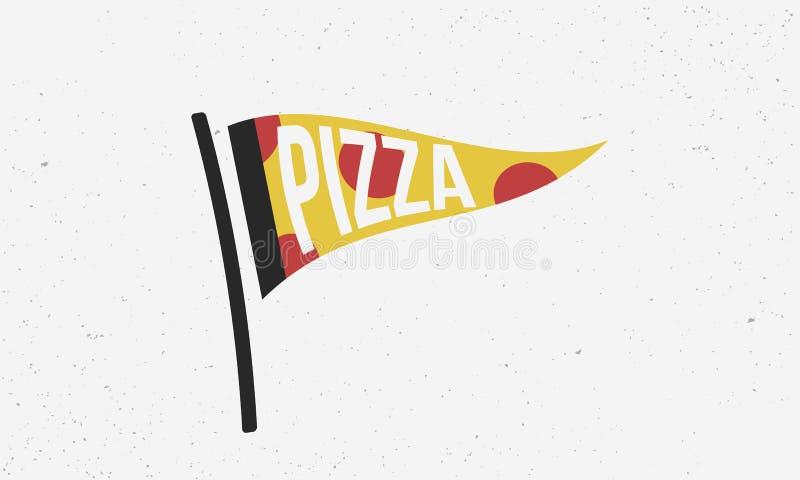Λογότυπο πιτσών Έμβλημα σημαιών πιτσών Σύγχρονη αφίσα για το pizzeria ή το εστιατόριο r ελεύθερη απεικόνιση δικαιώματος