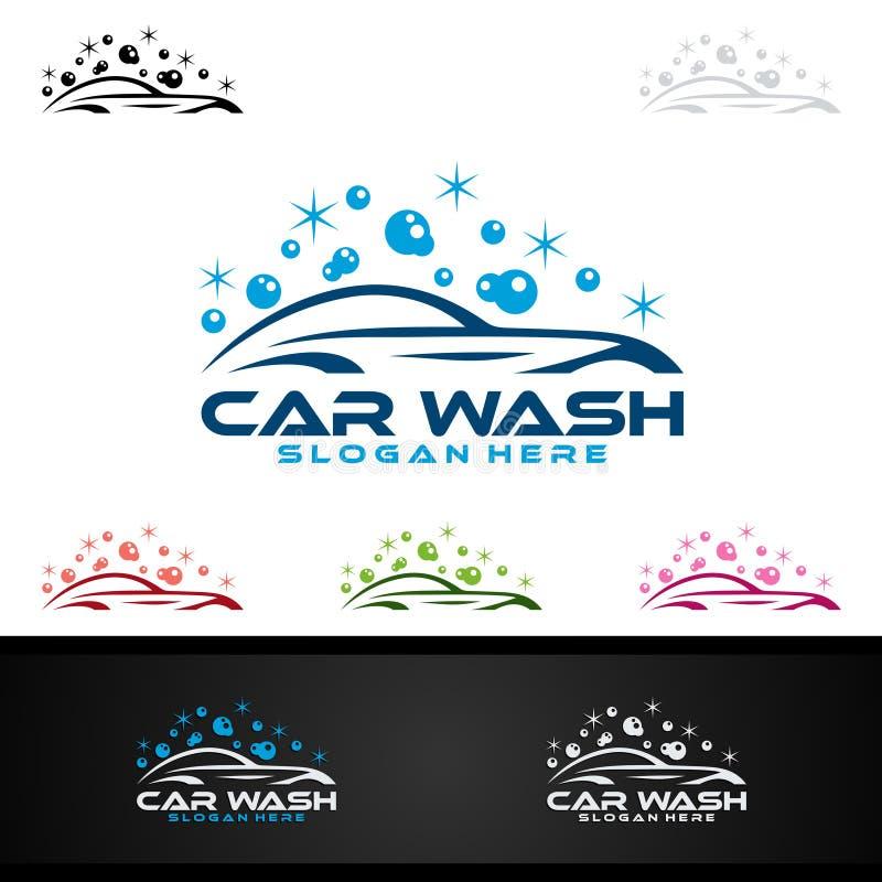 Λογότυπο πλυσίματος αυτοκινήτων, καθαρίζοντας σχέδιο λογότυπων αυτοκινήτων, πλύσης και υπηρεσιών διανυσματικό ελεύθερη απεικόνιση δικαιώματος