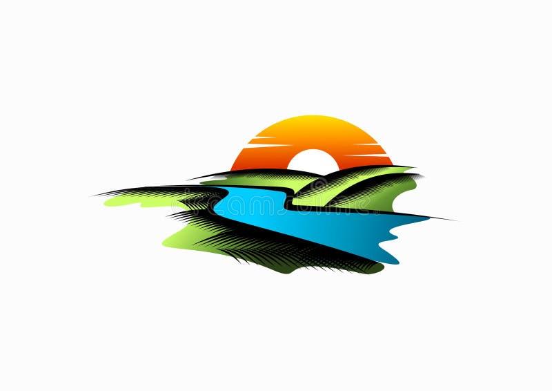 Λογότυπο ποταμών, εικονίδιο τοπίων, σημάδι λιμνών και σχέδιο έννοιας φύσης διανυσματική απεικόνιση